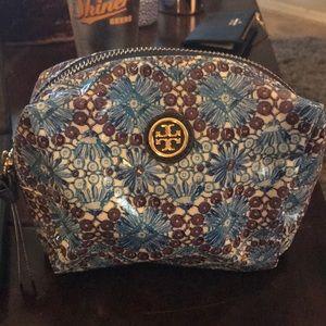 Tory Burch cosmetic bag. Brown/ turquoise/vinyl